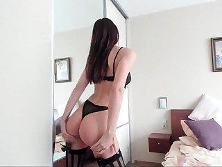 Amateur masturbation in underclothing