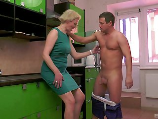 Mature blunt haired blonde wife Elena pussy pounded around the kitchen