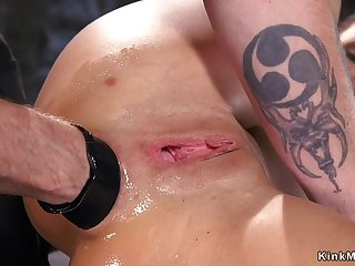 Darkhaired double penetration fisted bdsm