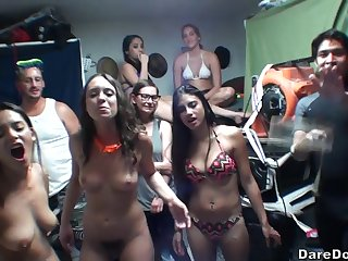 Messy college party orgy with Lacey Channing and her naughty companions
