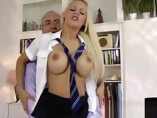 Accidental older man fucks blonde babe in schoolgirl vestment