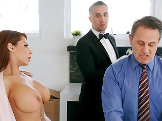 Sex-crazed butler is preparing to anal fuck housewife
