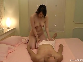 Japanese amateur with natural tits added to a hairy pussy rides say no to husband