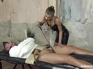 Skinny mistress in skivvies Sarah Kay blows her secured about man's Hawkshaw