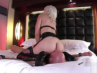 Sexy Tow-headed facesitting and pussy licking latex Boots