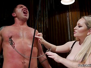 Toned male slave exasperation sex fisting femdom