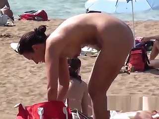 Hot Leafless Blonde Nudist Milf Showering Voyeur Beach Spy