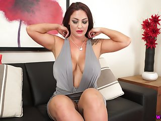 Torrid milf with splendid pair added to jaw dropping ass Roxy R is eager for your cock