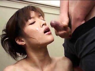 Sticky japanese bukkake facial