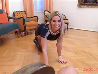 Elegant classy kirmess whore Nikky Dream blows cock in a off colour dress