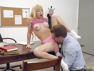 Tiny blonde whore Kenzie Reeves rough face fucked until a cumshot