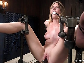 Babe bound in device perforated vagina toyed