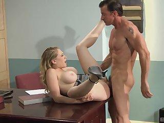 Merciless hard sex chiefly a desk for busty Kagney Linn Karter