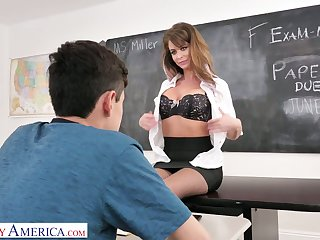 Horny MILFie tutor Emily Addison gives a good ride for orgasm