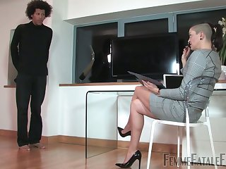 Kinky mistress puts on strapon with an increment of fucks anal hole of submissive dude