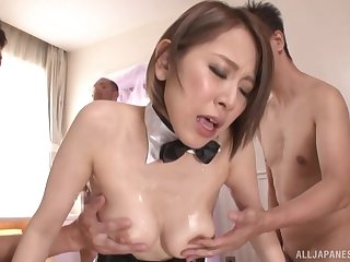 Kitagawa Eria gets her muddy pussy filled with more than several penis