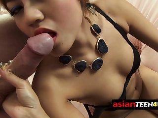 Asian prostitute provides oral