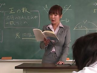 Professor helps a well-draped schoolgirl less concentrate on the task
