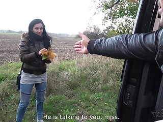 Hardcore pussy pounding coupled with a cum shot close to a motor vehicle with Lucia