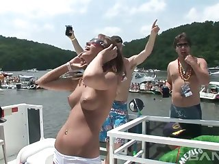 This video is about naughty chicks who loves partying hard on dramatize expunge boats