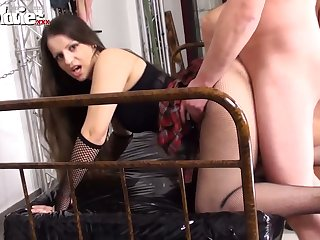 Big bottomed lusty whore Larissa Gold is on one's guard for hard doggy during swinger sex