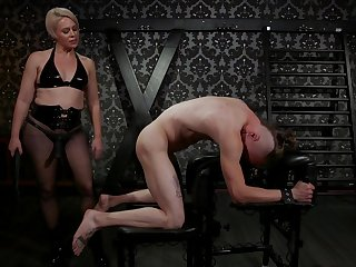 Femdom fetish scene with Helena Locke sucking her slave's dick