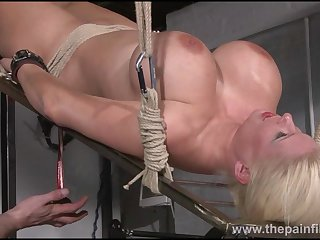 Rough water bondage and interracial slave sex for busty maso