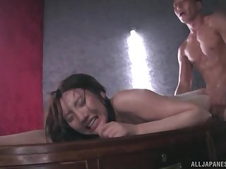 Japanese in lingerie Kashima Reina camouflaged with oil and doggy fucked