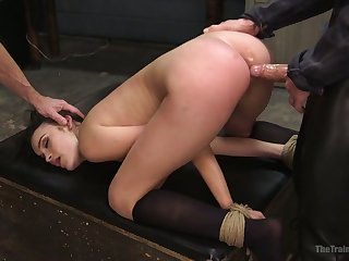 Handcuffed bitch Eden Sin is eager to take strong obese cock into her anus