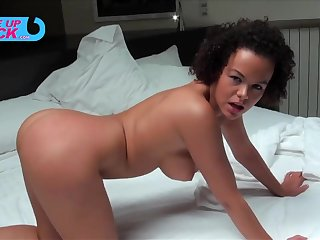 Prexy ebony Linet Chiefly getting assfucked hard by a white male. Full clip