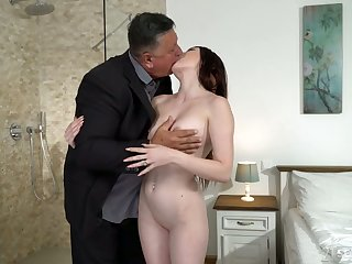 Cute young brunette Mia Evans is eager for crazy sex with senior old stepdad