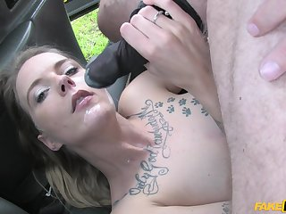 Pretty plus horny Melody Pleasure gets her pussy fucked in the car