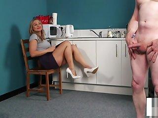 Busty english voyeur teasing and instructing