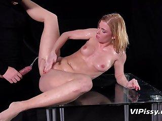 Burglar pisses on a hot slut together with fucks her