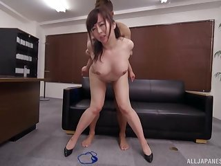 Asian milf fucked on the lie low couch and jizzed on face