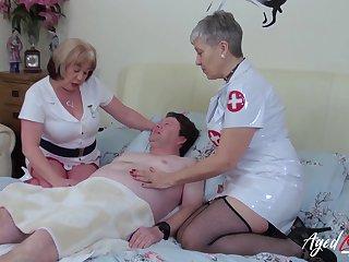 Busty british matures enjoying hardcore threesome sex on naughty sanatorium