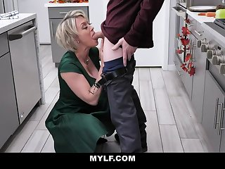 Bootylicious, platinum-blonde milf with humungous milk cans is having casual fuck-a-thon in the kitchen, after making lunch