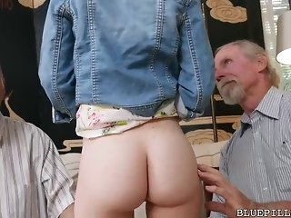 Red haired cutie is having casual fuck-fest with two senior stud regarding her living square freesex