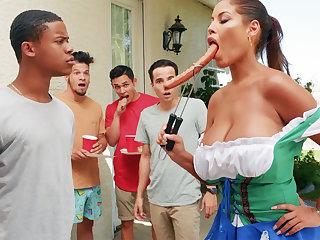 Hardest Oktoberfest group lovemaking for drunk wife