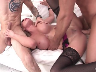 Voluptuous doll gets double fucked and made to swallow