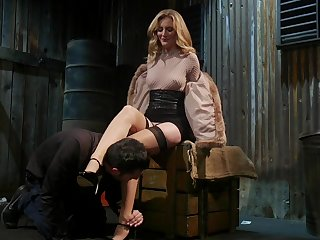Horn-mad mistress Mona Wales bangs tied up submissive dude and sucks his cock