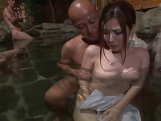 Beautiful Japanese woman fucked by studs everywhere be passed on countryside increased by spa