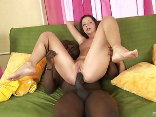 Acceptable interracial with the man fucking her roughly