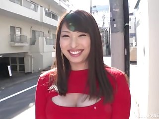 Amateur Asian babe Akiyama Shouko with chubby tits jerks off a random guy