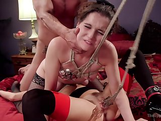 Muscular man drills two obedient whores in kinky scenes