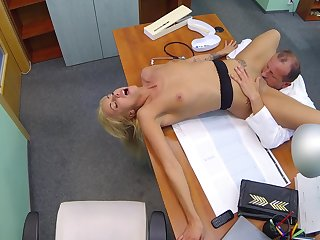 Hot light-complexioned licked and fucked by older doctor with huge dick