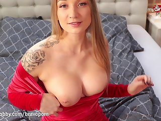 FionaFuchs bareback fuck in her penurious red dress coupled with swallows