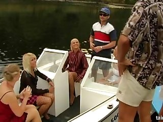 Glamour bitches fucked by team a few rich dudes on a private Row-boat