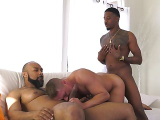 Black hunks fuck a pallid male and jizz him right
