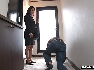 Strict Japanese MILF VIP facesits their way submissive employee